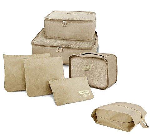 Kit Viagem Miami 7 Pçs Organizador de malas + Porta sapato Jacki Design Cor:Bege