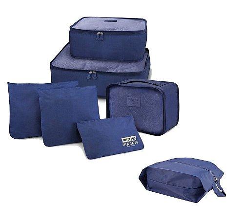 Kit Viagem Miami 7 Pçs Organizador de malas + Porta sapato Jacki Design Cor:Azul