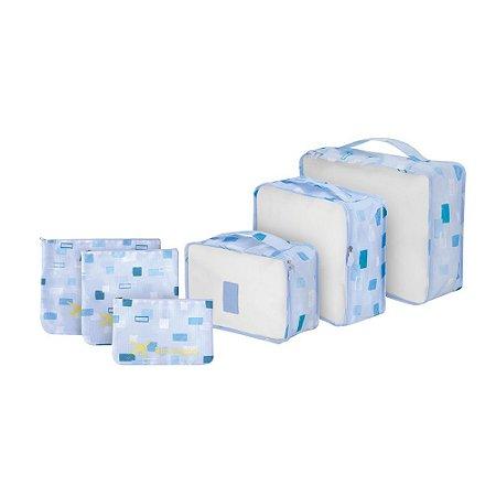 Organizador de Malas para Viagem 6 peças Nylon NV190512 Uny home Azul