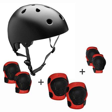 Kit Proteção Completo para Skate Patins M YS38034 Cor:Preto