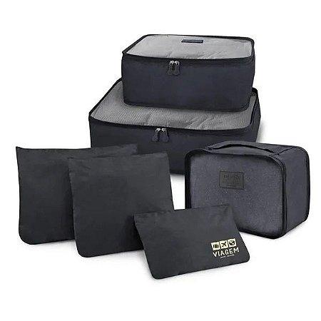Kit Organizador De Malas Com 6 Peças Viagem Jacki Design - ARH20881 Cor:Preto