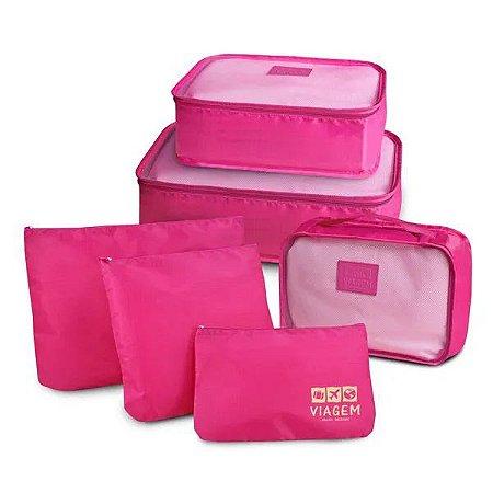 Kit Organizador De Malas Com 6 Peças Viagem Jacki Design - ARH20881 Cor:Pink