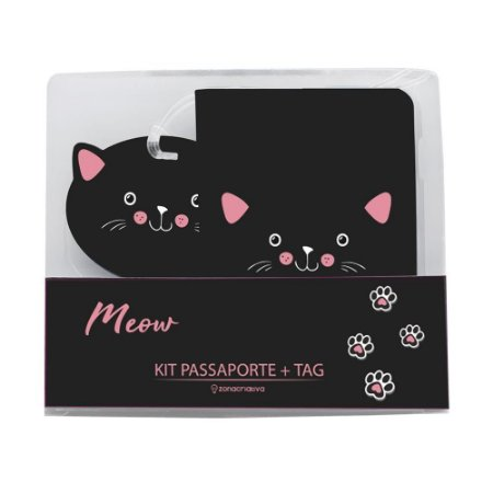 Kit Viagem Tag e Passaporte Meow - Zona Criativa