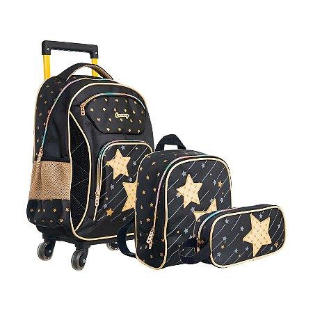 Kit Mochila Infantil Escolar com Lancheira e Estojo Estrela Brilhante Dourado Convoy - YS42031