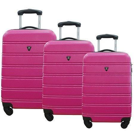 Conjunto de Malas de Viagem 3 Peças ABS com Expansor e Roda 360 Rosa Yin's - YS01021RO