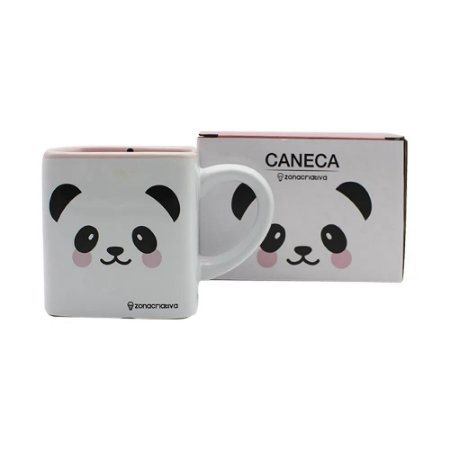 Caneca Cubo Panda 300ml Zona Criativa - 10023348