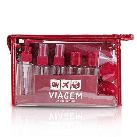 Kit de Frascos Viagem 10 peças Jacki Design AKM19760 Cor:Vinho