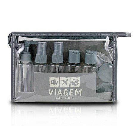 Kit de Frascos Viagem 10 peças Jacki Design AKM19760 Cor:Cinza