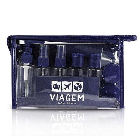Kit de Frascos Viagem 10 peças Jacki Design AKM19760 Cor:Azul