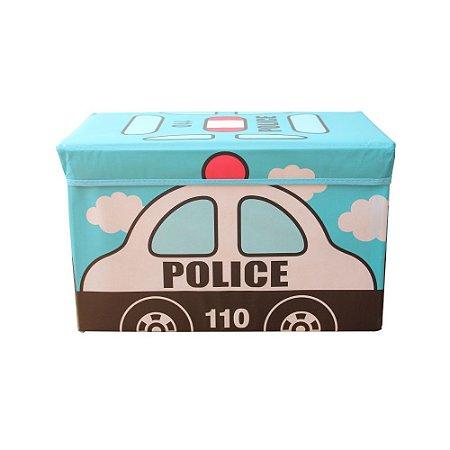 Caixa Puff Organizadora Infantil Dobrável 48x31x31CM Policia Casita - CA20004