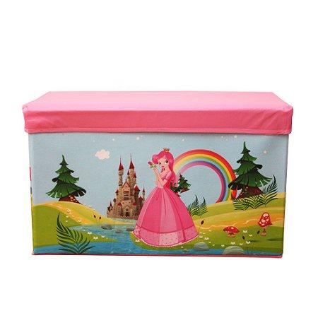 Caixa Puff Organizadora Infantil Dobrável 60x30x30CM Princesa - CA20005