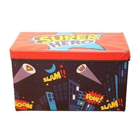 Caixa Puff Organizadora Infantil Dobrável 60x30x30CM Super Herói - CA20005