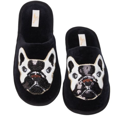 Pantufa Bulldog com Lantejoula 37/38 Cotton Day - 16008