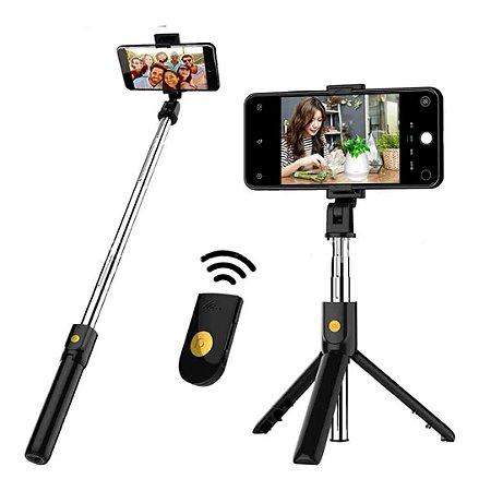 Pau de Selfie Bluetooth com Rotação e Tripé Tomate - MZP-110