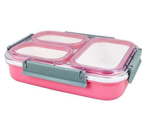Pote para Marmita com 3 Compartimentos 1350ml Jacki Design AWM17162 Cor:Rosa