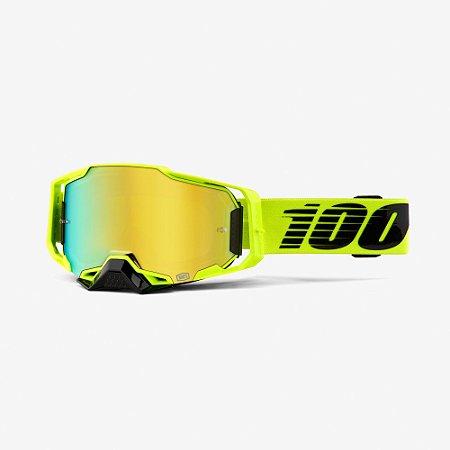 Óculos 100% Armega Espelhado Nuclear Circus Amarelo Fluor