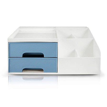 Organizador Multiuso de 2 Gavetas Jacki Design - AHX20905 Azul