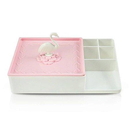 Organizador Multiuso Flamingo Jacki Design - AHX20907 Branco/Rosa