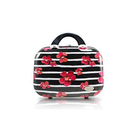 Frasqueira de Viagem Bossanova Floral Preto Jacki Design - APT17533
