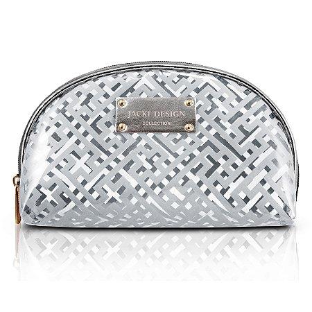 Necessaire Meia Lua Diamantes Prata Jacki Design - ABC17378