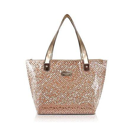 Bolsa Shopper Transparente Diamantes Dourado Jacki Design - ABC17573