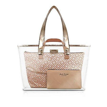 Kit de Bolsa com 3 Peças Diamantes Dourado Jacki Design - ABC17382