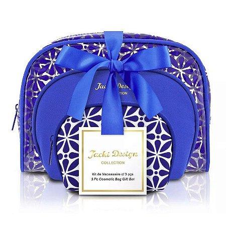 Kit de Necessaire com 3 Peças Étnica ABC16109 Jacki Design Cor:Azul