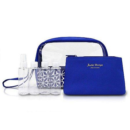 Kit de Necessaire com Frascos Étnica ABC16112 Jacki Design Cor:Azul