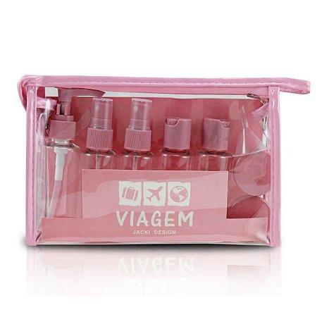 Kit de Frascos Viagem 10 peças Rosa Jacki Design - AKM20901