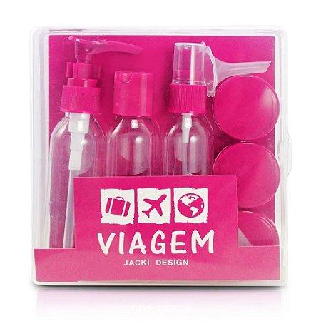 Kit de Frascos para Viagem 9 Peças Pink Jacki Design - AKM20902