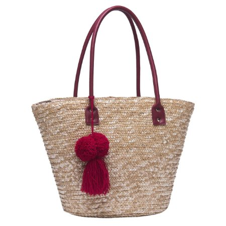 Bolsa de Praia em Palha Tote Bag Pagani Vermelho PG6929