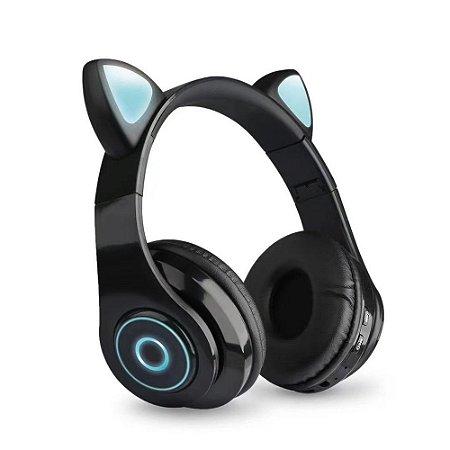 Fone de Ouvido Headphone Orelha de Gato Bluetooth com LED Taisiho - TO-89 Preto