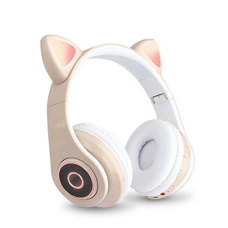 Fone de Ouvido Headphone Orelha de Gato Bluetooth com LED Taisiho - TO-89 Dourado