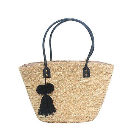 Bolsa de Praia em Palha Tote Bag Pagani Preto PG6929