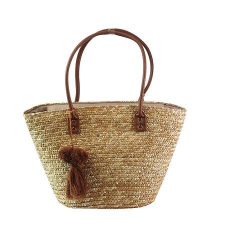 Bolsa de Praia em Palha Tote Bag Pagani Caramelo PG6929