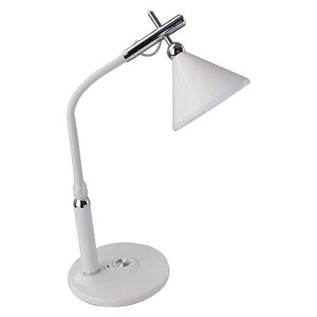 Luminária Abajur LED de Mesa Touch Flexível Alumínio BL - 1851 Branca