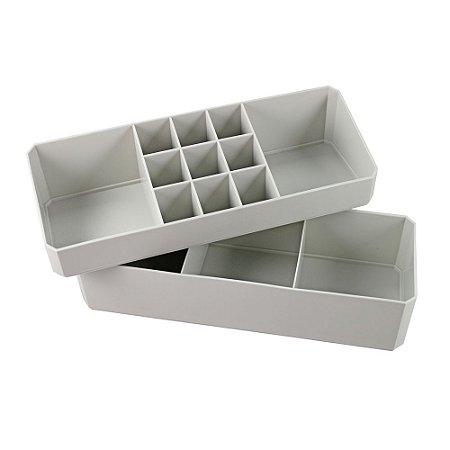 Organizador Multiuso de 2 Peças Loft Cinza Jacki Design - AGD20925