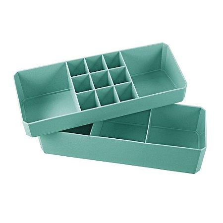 Organizador Multiuso de 2 Peças Loft Turquesa Jacki Design - AGD20925