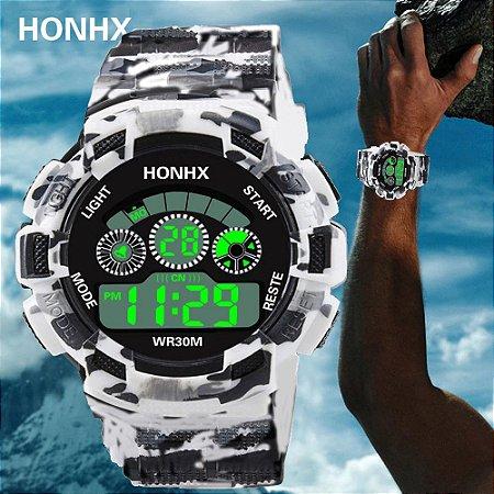 abddf4f2fd5 Moda Mens Relógio LED Número Digital Analógico Alarme Data Militar Esportes  Silicone Relógio de Pulso Para
