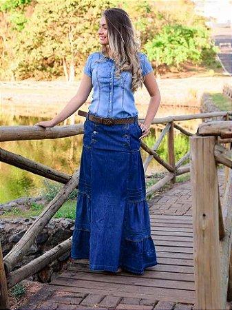 Saia Jeans Longa Moda Evangelica