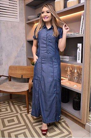 Vestido longo jeans tencel com mangas e bolsos moda evangelica