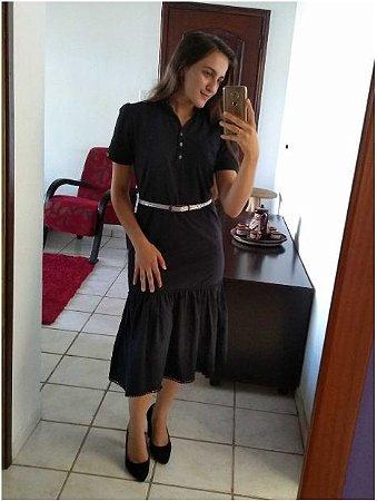 Vestido Chemise De Linho Preto Com Babados Moda Evangelica
