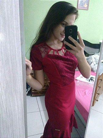 Vestido fascinu's fascinius sereia com peplum evangelica