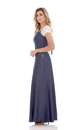 Vestido Jeans Longo acompanha Blusa Roupas Evangelicas