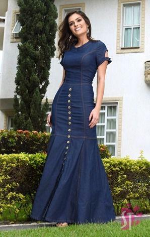 Vestido Jeans Longo Sol da Terra Moda Evangelica