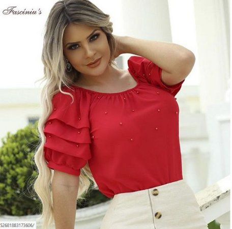 Blusa Fasciniu's  Vermelha  Bordada Moda Evangélica