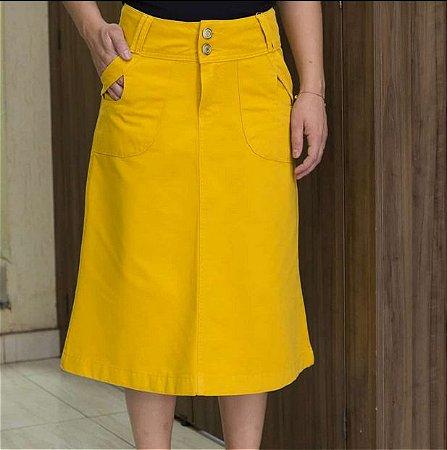 Saia Jeans  Longuete Amarela Evangelica Midi