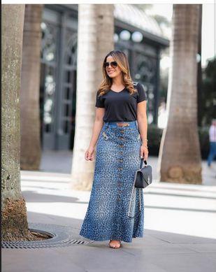 Saia Jeans Longa Felino Azul Moda Evangelica