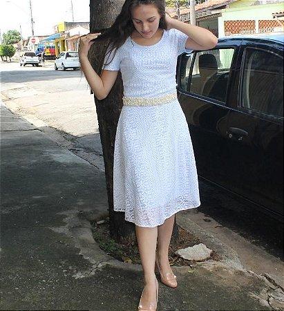 Vestido Em Renda Gode Branco Moda Evangelica