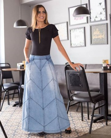 Saia Jeans Longa Com Recortes Roupas Evangelicas